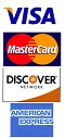 Visa, Mastercard, and Discover welcome.